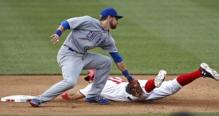 Jun 15, 2016; Washington, DC, USA; Washington Nationals first baseman Ryan Zimmerman (11) slides into second base ahead of he tag of Chicago Cubs second baseman Ben Zobrist (18) in the seventh inning at Nationals Park. The Nationals won 5-4 in twelve innings. Mandatory Credit: Geoff Burke-USA TODAY Sports