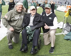 Nov 3, 2013; East Rutherford, NJ, USA; New Orleans Saints defensive coordinator Rob Ryan with rather Buddy Ryan and New York Jets head coach Rex Ryan before the game at MetLife Stadium. Mandatory Credit: William Perlman/The Star-Ledger via USA TODAY Sports