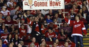 Mar 31, 2015; Detroit, MI, USA; Fans hold up a sign for Detroit Red Wings former player Gordie Howe during the first period against the Ottawa Senators at Joe Louis Arena. Mandatory Credit: Rick Osentoski-USA TODAY Sports