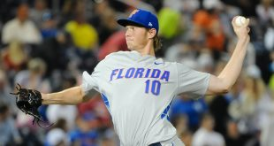 Jun 15, 2015; Omaha, NE, USA; Florida Gators pitcher A.J. Puk (10) started the game against the Virginia Cavaliers in the 2015 College World Series at TD Ameritrade Park. Mandatory Credit: Steven Branscombe-USA TODAY Sports