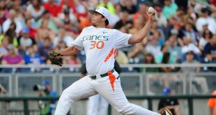 Jun 17, 2015; Omaha, NE, USA; Miami Hurricanes pitcher Andrew Suarez (30) pitches in the 2015 College World Series at TD Ameritrade Park. Mandatory Credit: Steven Branscombe-USA TODAY Sports