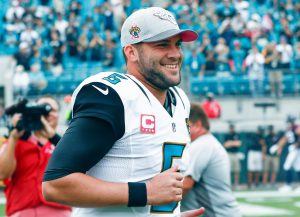 Oct 18, 2015; Jacksonville, FL, USA; Jacksonville Jaguars quarterback Blake Bortles (5) is introduced before a football game against the Houston Texans at EverBank Field. Mandatory Credit: Reinhold Matay-USA TODAY Sports