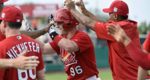 Mar 12, 2016; Jupiter, FL, USA; St. Louis Cardinals pinch hitter Harrison Bader is congratulated after the victory over the Houston Astros during the game at Roger Dean Stadium. The Cardinals defeated the Astros 4-3. Mandatory Credit: Scott Rovak-USA TODAY Sports