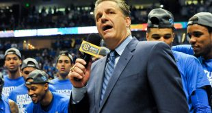 Mar 13, 2016; Nashville, TN, USA; The Kentucky Wildcats head coach John Calipari addresses the crowd after winning the championship game against Texas A&M Aggies of the SEC tournament at Bridgestone Arena. Kentucky Wildcats won 82-77. Mandatory Credit: Jim Brown-USA TODAY Sports