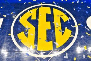 Mar 13, 2016; Nashville, TN, USA; The SEC logo after the championship game between Kentucky Wildcats and Texas A&M Aggies of the SEC tournament at Bridgestone Arena. Kentucky Wildcats won 82-77. Mandatory Credit: Jim Brown-USA TODAY Sports