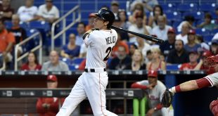 May 6, 2016; Miami, FL, USA; Miami Marlins left fielder Christian Yelich (21) watches as he hits a two run homer during the first inning against the Philadelphia Phillies at Marlins Park. Mandatory Credit: Steve Mitchell-USA TODAY Sports