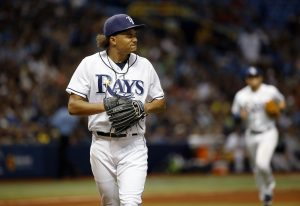 May 27, 2016; St. Petersburg, FL, USA; Tampa Bay Rays starting pitcher Chris Archer (22) reacts as he walks back to the dugout at the end of the sixth inning against the New York Yankees at Tropicana Field. Mandatory Credit: Kim Klement-USA TODAY Sports