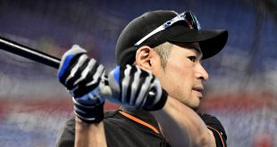 May 30, 2016; Miami, FL, USA; Miami Marlins center fielder Ichiro Suzuki (51) warms up prior to the game against Pittsburgh Pirates at Marlins Park. Mandatory Credit: Steve Mitchell-USA TODAY Sports