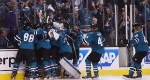 Jun 4, 2016; San Jose, CA, USA; San Jose Sharks right wing Joonas Donskoi (27) celebrates with teammates after scoring the game-winning goal against the Pittsburgh Penguins in the overtime period of game three of the 2016 Stanley Cup Final at SAP Center at San Jose. Mandatory Credit: Kyle Terada-USA TODAY Sports