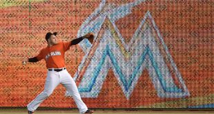 Jun 5, 2016; Miami, FL, USA;Miami Marlins starting pitcher Jose Fernandez (16) warms up in the outfield prior to the game against the New York Mets at Marlins Park. Mandatory Credit: Steve Mitchell-USA TODAY Sports