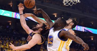 Jun 5, 2016; Oakland, CA, USA; Golden State Warriors forward Draymond Green (23) blocks the shot of Cleveland Cavaliers forward Kevin Love (0) during the first quarter in game two of the NBA Finals at Oracle Arena. Mandatory Credit: Kyle Terada-USA TODAY Sports