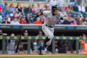 Jun 7, 2016; Minneapolis, MN, USA; Miami Marlins outfielder Ichiro Suzuki (51) singles in the first inning against the Minnesota Twins at Target Field. Mandatory Credit: Brad Rempel-USA TODAY Sports