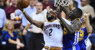 Jun 8, 2016; Cleveland, OH, USA; Cleveland Cavaliers guard Kyrie Irving (2) shoots the ball in front of Golden State Warriors forward Draymond Green (23) and guard Shaun Livingston (34) during the third quarter in game three of the NBA Finals at Quicken Loans Arena. Mandatory Credit: David Richard-USA TODAY Sports