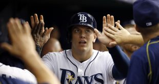 Jun 14, 2016; St. Petersburg, FL, USA; Tampa Bay Rays first baseman Logan Morrison (7) celebrates with teammates in the dugout after scoring a run during the seventh inning against the Seattle Mariners at Tropicana Field. Mandatory Credit: Kim Klement-USA TODAY Sports