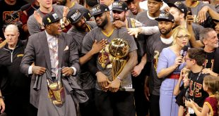 Jun 19, 2016; Oakland, CA, USA; Cleveland Cavaliers forward LeBron James (23) celebrates with the Larry O'Brien Championship Trophy after beating the Golden State Warriors in game seven of the NBA Finals at Oracle Arena. Mandatory Credit: Kelley L Cox-USA TODAY Sports