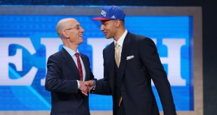 Jun 23, 2016; New York, NY, USA; Ben Simmons (LSU) greets NBA commissioner Adam Silver after being selected as the number one overall pick to the Philadelphia 76ers in the first round of the 2016 NBA Draft at Barclays Center. Mandatory Credit: Brad Penner-USA TODAY Sports