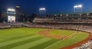 Jun 23, 2016; Omaha, NE, USA; General view of the stadium during the fifth inning of the contest between the Texas Tech Red Raiders and the Coastal Carolina Chanticleers  at the 2016 College World Series  at TD Ameritrade Park. Mandatory Credit: Steven Branscombe-USA TODAY Sports