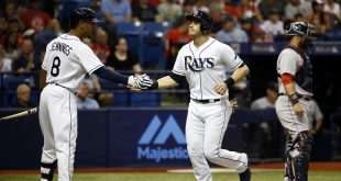 Jun 27, 2016; St. Petersburg, FL, USA; Tampa Bay Rays third baseman Evan Longoria (3) is congratulated by left fielder Desmond Jennings (8) after he scored during the first inning against the Boston Red Sox at Tropicana Field. Mandatory Credit: Kim Klement-USA TODAY Sports