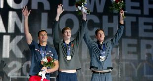 Jun 28, 2016; Omaha, NE, USA; (left to right) Ryan Lochte, Townley Haas and Conor Dwyer celebrate after the men's freestyle 200m finals in the U.S. Olympic swimming team trials at CenturyLink Center. Mandatory Credit: Rob Schumacher-USA TODAY Sports