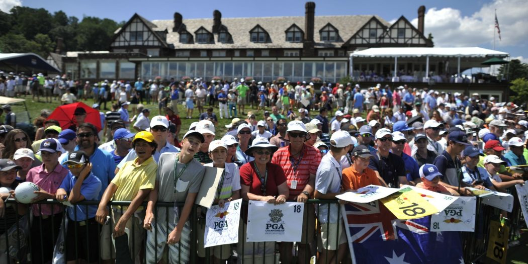 Jul 27, 2016; Springfield, NJ, USA; Fans crowd around the eighteenth greenduring a practice round for the 2016 PGA Championship golf tournament at Baltusrol GC - Lower Course. Mandatory Credit: Eric Sucar-USA TODAY Sports