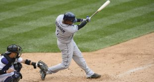 Jul 20, 2016; Denver, CO, USA; Tampa Bay Rays second baseman Tim Beckham (1) doubles in the ninth inning against the Colorado Rockies at Coors Field. The Rays defeated the Rockies 11-3. Mandatory Credit: Ron Chenoy-USA TODAY Sports
