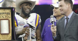 Dec 29, 2015; Houston, TX, USA; LSU Tigers running back Leonard Fournette (7) holds the MVP Texas Bowl trophy after defeating the Texas Tech Red Raiders 56-27 at NRG Stadium. Mandatory Credit: Thomas B. Shea-USA TODAY Sports