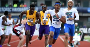 Jun 10, 2016; Eugene, OR, USA; Najee Glass runs the anchor leg on the Florida 4 x 400m relay that finished second in 3:0012 to clinch the team title during the 2016 NCAA Track and Field championships at Hayward Field. Mandatory Credit: Kirby Lee-USA TODAY Sports