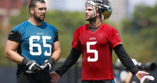 Jun 14, 2016; Jacksonville, FL, USA; Jacksonville Jaguars guard Brandon Linder (65) and Jacksonville Jaguars quarterback Blake Bortles (5) talk during minicamp workouts at Florida Blue Health and Wellness Practice Fields. Credit: Logan Bowles-USA TODAY Sports