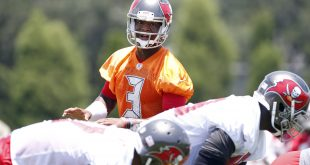 Jun 14, 2016; Tampa Bay, FL, USA; Tampa Bay Buccaneers quarterback Jameis Winston (3) works out during mini camp at One Buccaneer Place. Mandatory Credit: Kim Klement-USA TODAY Sports