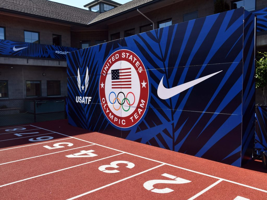 Jun 30, 2016; Eugene, OR, USA; General view of the backdrop with USA Track & Field and Nike Logos prior to the 2016 U.S. Olympic Team Trials at Hayward Field. Mandatory Credit: Kirby Lee-USA TODAY Sports