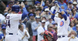 Jul 5, 2016; Chicago, IL, USA; Chicago Cubs infielder Addison Russell (right) high-fives first baseman Anthony Rizzo (44) after hitting a two-run home run in the third inning of their game against the Cincinnati Reds at Wrigley Field. Mandatory Credit: Matt Marton-USA TODAY Sports