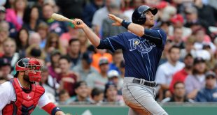 Jul 10, 2016; Boston, MA, USA; Tampa Bay Rays shortstop Brad Miller (13) bats during the sixth inning against the Boston Red Sox at Fenway Park. Mandatory Credit: Bob DeChiara-USA TODAY Sports