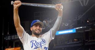 July 12, 2016; San Diego, CA, USA; American League infielder Eric Hosmer of the Kansas City Royals is awarded the MVP of the 2016 MLB All Star Game at Petco Park. Mandatory Credit: Gary A. Vasquez-USA TODAY Sports
