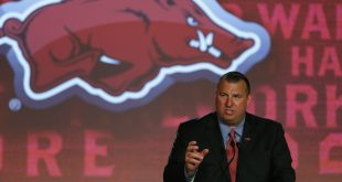 Jul 13, 2016; Hoover, AL, USA; Arkansas head coach Bret Bielema speaks to the media during SEC media day at Hyatt Regency Birmingham-The Wynfrey Hotel. Mandatory Credit: Butch Dill-USA TODAY Sports
