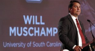 Jul 14, 2016; Hoover, AL, USA; South Carolina head coach Will Muschamp speaks to media during SEC media day at Hyatt Regency Birmingham-The Wynfrey Hotel. Mandatory Credit: Butch Dill-USA TODAY Sports