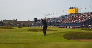 Jul 14, 2016; Ayrshire,  SCT;Phil Mickelson (USA) hits his second shot from the 18th fairway  during the first round round of the 145th Open Championship golf tournament at Royal Troon Golf Club - Old Course. Mandatory Credit: Thomas J. Russo-USA TODAY Sports