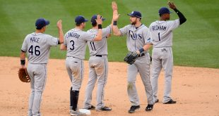 USA; Tampa Bay Rays right fielder Steven Souza Jr. (20) and catcher Luke Maile (46) and third baseman Evan Longoria (3) and second baseman Logan Forsythe (11) and second baseman Tim Beckham (1) Mandatory Credit: Ron Chenoy-USA TODAY Sports
