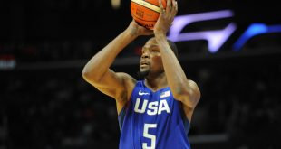 July 24, 2016; Los Angeles, CA, USA; USA guard Kevin Durant shoots against China in the first half during an exhibition basketball game at Staples Center. Mandatory Credit: Gary A. Vasquez-USA TODAY Sports