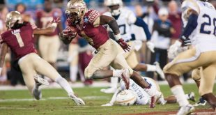 Dec 6, 2014; Charlotte, NC, USA; Florida State Seminoles running back Dalvin Cook (4) runs the ball during the third quarter against the Georgia Tech Yellow Jackets at Bank of America Stadium. FSU defeated Georgia Tech 37-35. Mandatory Credit: Jeremy Brevard-USA TODAY Sports