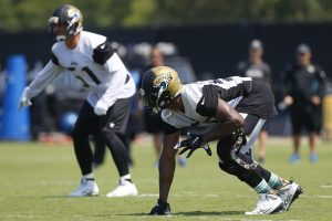 Jun 14, 2016; Jacksonville, FL, USA; Jacksonville Jaguars defensive end Dante Fowler (56) lines up prior to a play during minicamp workouts at Florida Blue Health and Wellness Practice Fields. Mandatory Credit: Logan Bowles-USA TODAY Sports