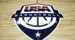 Jul 31, 2016; Houston, TX, USA; A view of the USA Basketball emblem is seen during practice at Toyota Center. Mandatory Credit: Thomas B. Shea-USA TODAY Sports