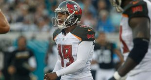 Aug 20, 2016; Jacksonville, FL, USA;  Tampa Bay Buccaneers kicker Roberto Aguayo (19) reacts after missing a field goal during the first quarter of a football game against the Jacksonville Jaguars at EverBank Field. Mandatory Credit: Reinhold Matay-USA TODAY Sports