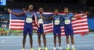 Aug 20, 2016; Rio de Janeiro, Brazil; USA members Arman Hall , Tony McQuay , Gil Roberts and Lashawn Merritt (USA) celebrate after during the men's 4x400m relay final during the Rio 2016 Summer Olympic Games at Estadio Olimpico Joao Havelange. Mandatory Credit: Kirby Lee-USA TODAY Sports