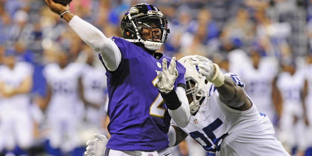 Aug 20, 2016; Indianapolis, IN, USA;  Baltimore Ravens quarterback  Josh Johnson (2) throws a pass while under pressure from Indianapolis Colts linebacker Earl Okine (95) during the second half at Lucas Oil Stadium. Mandatory Credit: Thomas J. Russo-USA TODAY Sports