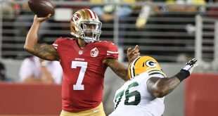 August 26, 2016; Santa Clara, CA, USA; San Francisco 49ers quarterback Colin Kaepernick (7) passes the football against Green Bay Packers defensive end Mike Daniels (76) during the second quarter at Levi's Stadium