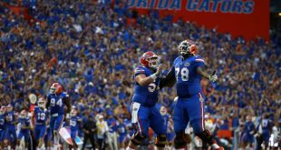 Sep 26, 2015; Gainesville, FL, USA; Florida Gators offensive lineman Cameron Dillard (54) and offensive lineman David Sharpe (78) celebrate as they scored a touchdown to tie to game during the fourth quarter at Ben Hill Griffin Stadium. Florida Gators defeated the Tennessee Volunteers 28-27. Mandatory Credit: Kim Klement-USA TODAY Sports