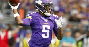 Aug 28, 2016; Minneapolis, MN, USA; Minnesota Vikings quarterback Teddy Bridgewater (5) throws the ball against the San Diego Chargers in the first quarter at U.S. Bank Stadium. Mandatory Credit: Bruce Kluckhohn-USA TODAY Sports
