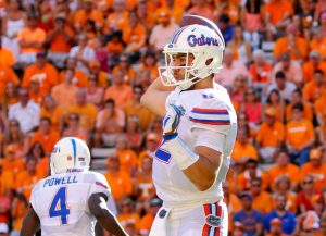 Sep 24, 2016; Knoxville, TN, USA; Florida Gators quarterback Austin Appleby (12) passes the ball against the Tennessee Volunteers during the second quarter at Neyland Stadium. Mandatory Credit: Randy Sartin-USA TODAY Sports