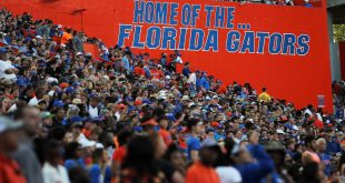 "Apr 8, 2016; Gainesville, FL, USA; A general view of the ""Home of the Florida Gators"" sign during the Orange and Blue game at Ben Hill Griffin Stadium. Blue won 38-6. Mandatory Credit: Logan Bowles-USA TODAY Sports"