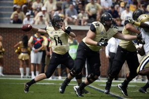 Sep 17, 2016; Atlanta, GA, USA; Vanderbilt Commodores quarterback Kyle Shurmur (14) attempts a pass in the first quarter of their game against the Georgia Tech Yellow Jackets at Bobby Dodd Stadium. Mandatory Credit: Jason Getz-USA TODAY Sports